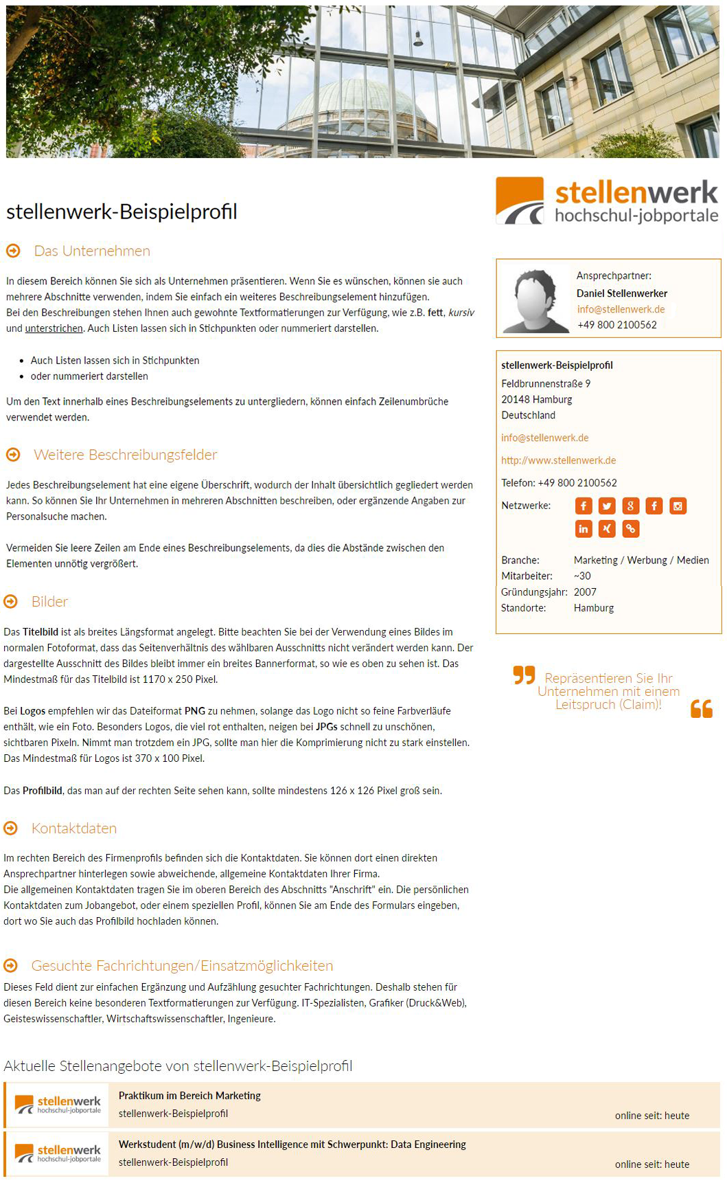 Stellenwerk Firmenprofil Beispiel